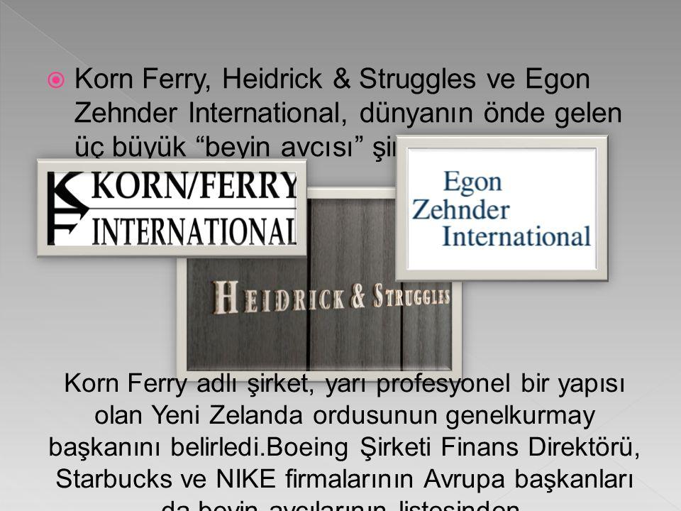  Korn Ferry, Heidrick & Struggles ve Egon Zehnder International, dünyanın önde gelen üç büyük beyin avcısı şirketi.