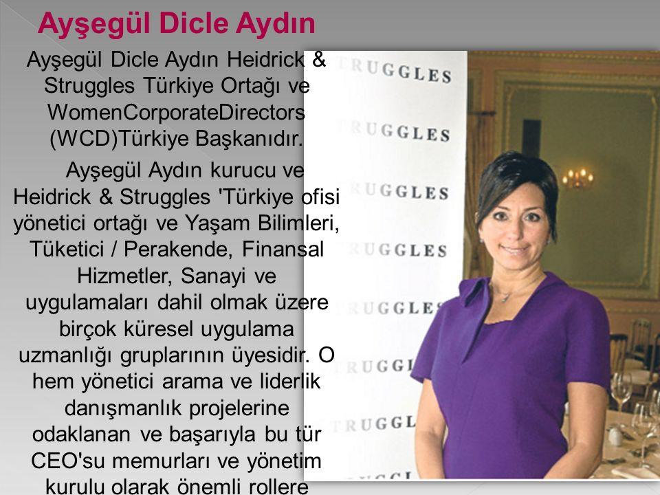 Ayşegül Dicle Aydın Ayşegül Dicle Aydın Heidrick & Struggles Türkiye Ortağı ve WomenCorporateDirectors (WCD)Türkiye Başkanıdır.