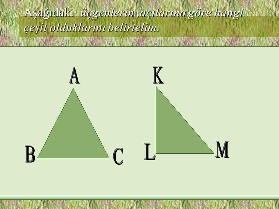 Üçgenler açılarına göre üç çeşittir Üç açısı da dar açı (ölçüleri doksanar dereceden küçük) olan üçgene dar açılı üçgen denir.Bir açısı geniş açı olan üçgene,geniş açılı üçgen; Bir açısı dik açı olan üçgene de dik açılı üçgen denir.