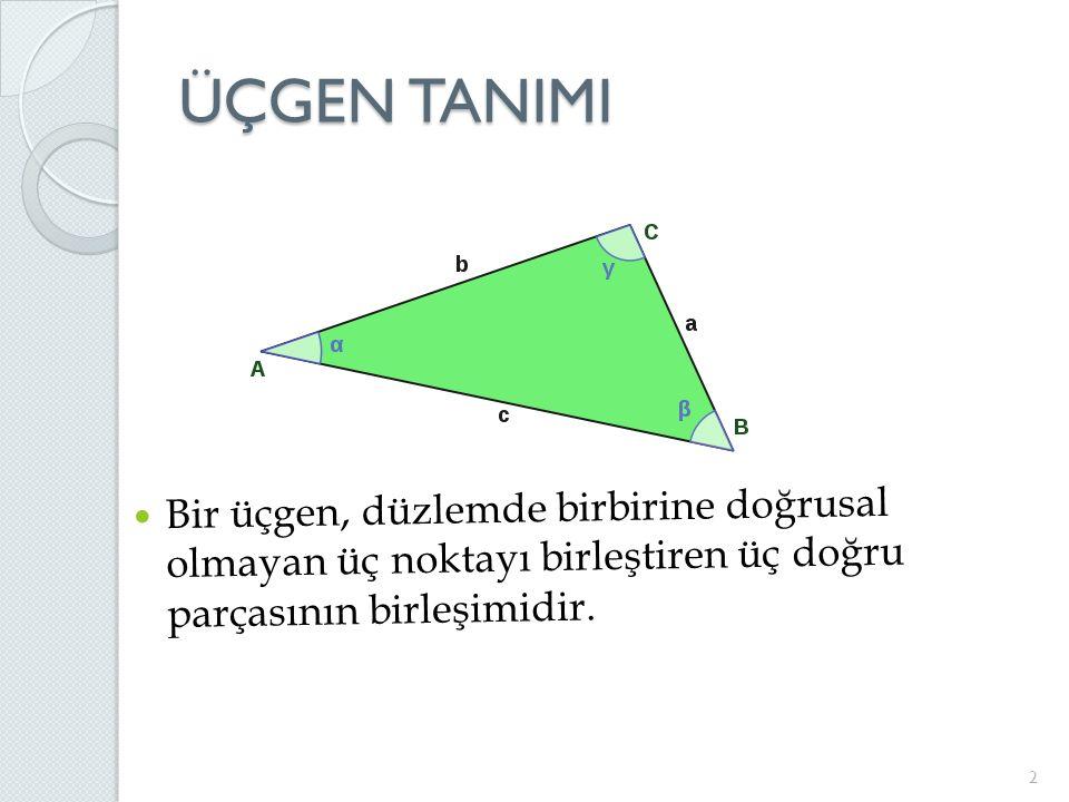 ÜÇGEN TANIMI 2 Bir üçgen, düzlemde birbirine doğrusal olmayan üç noktayı birleştiren üç doğru parçasının birleşimidir.