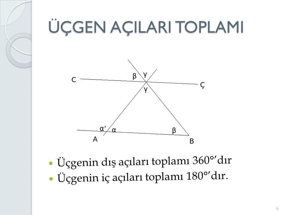ÜÇGEN AÇILARI TOPLAMI 6 Üçgenin dış açıları toplamı 360°'dır Üçgenin iç açıları toplamı 180°'dır.