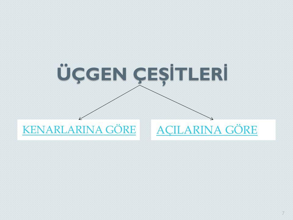 KENARLARINA GÖRE ÜÇGEN ÇEŞİTLERİ Eşkenar Üçgen İkizkenar Üçgen Çeşitkenar Üçgen 8