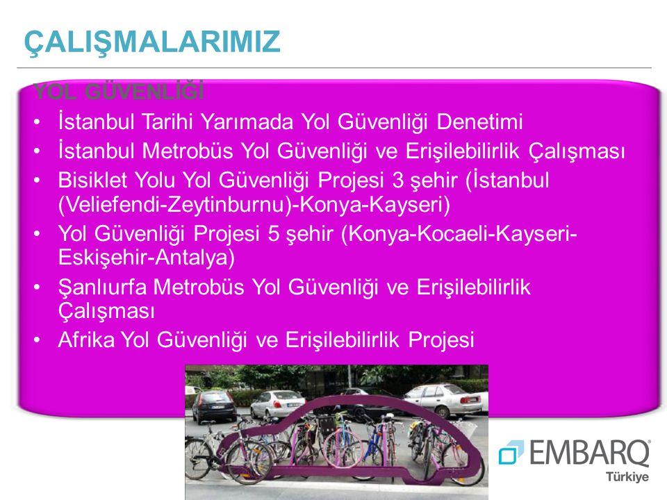 YOL GÜVENLİĞİ İstanbul Tarihi Yarımada Yol Güvenliği Denetimi İstanbul Metrobüs Yol Güvenliği ve Erişilebilirlik Çalışması Bisiklet Yolu Yol Güvenliği Projesi 3 şehir (İstanbul (Veliefendi-Zeytinburnu)-Konya-Kayseri) Yol Güvenliği Projesi 5 şehir (Konya-Kocaeli-Kayseri- Eskişehir-Antalya) Şanlıurfa Metrobüs Yol Güvenliği ve Erişilebilirlik Çalışması Afrika Yol Güvenliği ve Erişilebilirlik Projesi ÇALIŞMALARIMIZ