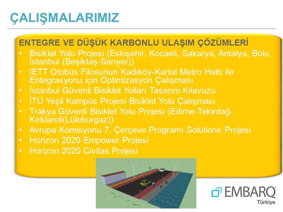 ENTEGRE VE DÜŞÜK KARBONLU ULAŞIM ÇÖZÜMLERİ Bisiklet Yolu Projesi (Eskişehir, Kocaeli, Sakarya, Antalya, Bolu, İstanbul (Beşiktaş-Sarıyer)) IETT Otobüs Filosunun Kadıköy-Kartal Metro Hattı ile Entegrasyonu için Optimizasyon Çalışması İstanbul Güvenli Bisiklet Yolları Tasarım Kılavuzu İTÜ Yeşil Kampüs Projesi Bisiklet Yolu Çalışması Trakya Güvenli Bisiklet Yolu Projesi (Edirne-Tekirdağ- Kırklareli(Lüleburgaz)) Avrupa Komisyonu 7.