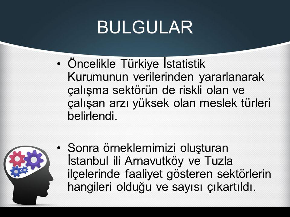 Öncelikle Türkiye İstatistik Kurumunun verilerinden yararlanarak çalışma sektörün de riskli olan ve çalışan arzı yüksek olan meslek türleri belirlendi.