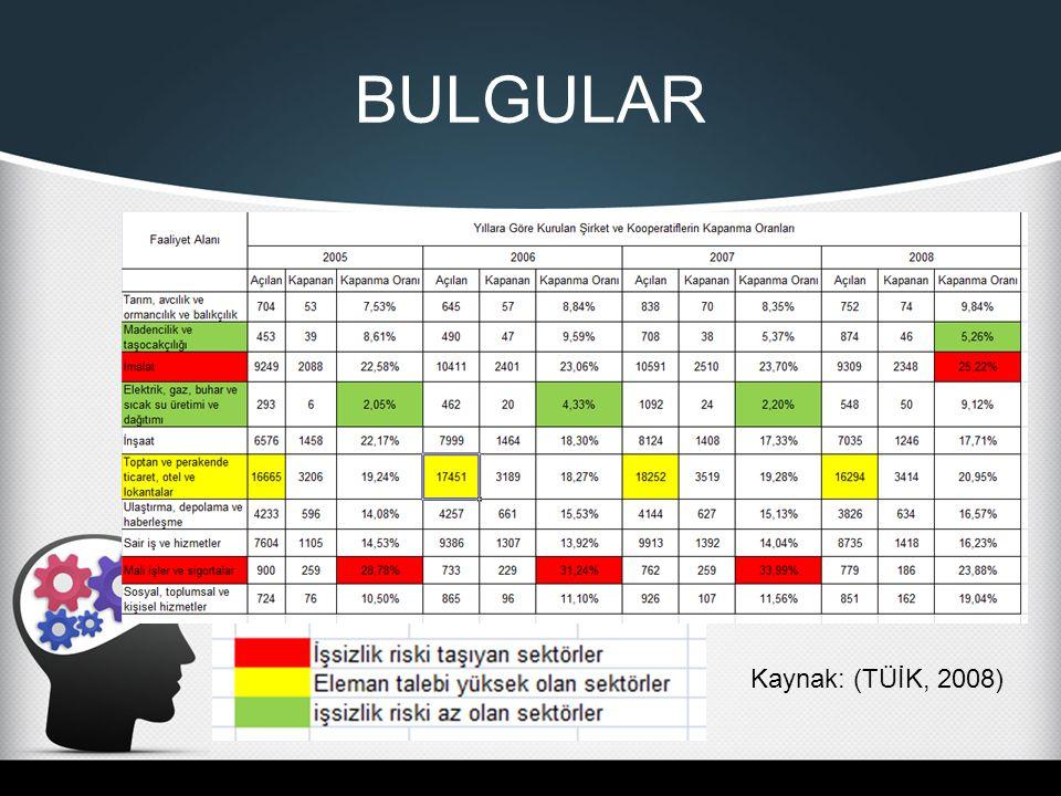 BULGULAR Kaynak: (TÜİK, 2008)