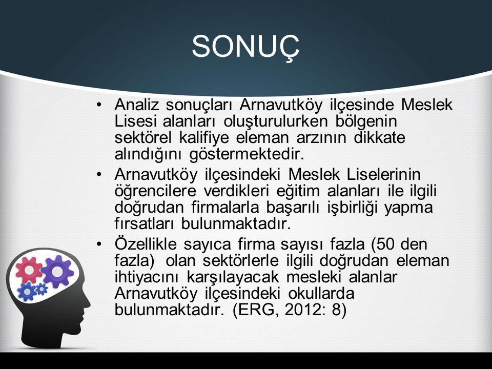 Analiz sonuçları Arnavutköy ilçesinde Meslek Lisesi alanları oluşturulurken bölgenin sektörel kalifiye eleman arzının dikkate alındığını göstermektedir.