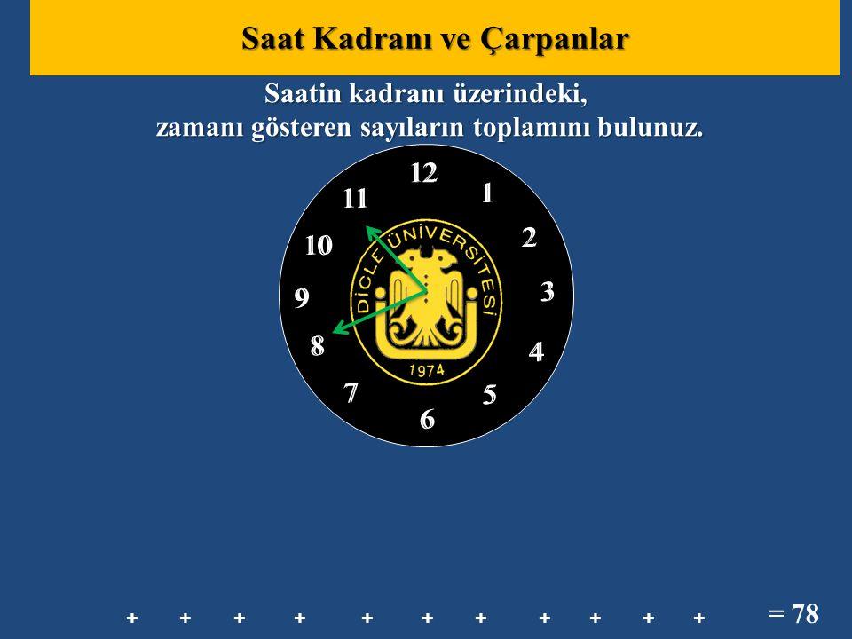 12 1 2 3 8 7 6 10 11 5 4 9 12 1 2 3 8 7 6 10 11 5 4 9 Saatin kadranı üzerindeki, zamanı gösteren sayıların toplamını bulunuz. zamanı gösteren sayıları