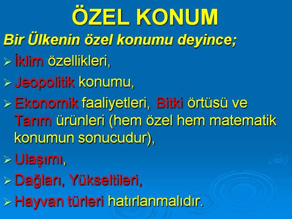 ÖZEL KONUM