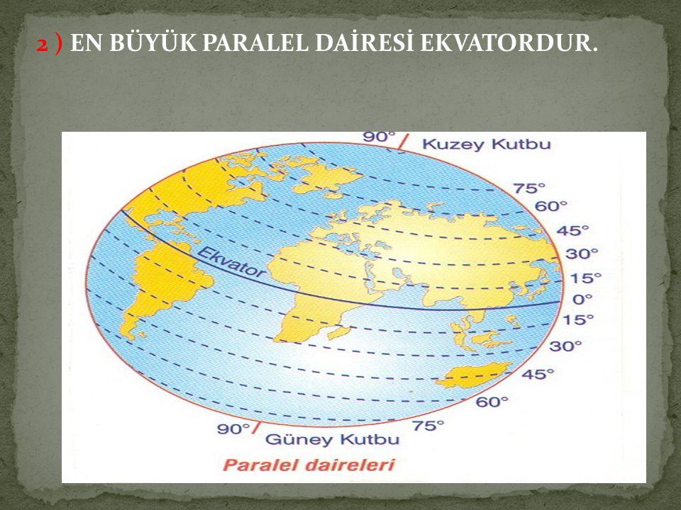 2 ) EN BÜYÜK PARALEL DAİRESİ EKVATORDUR.