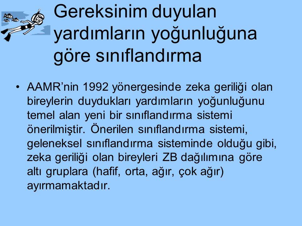 Gereksinim duyulan yardımların yoğunluğuna göre sınıflandırma AAMR'nin 1992 yönergesinde zeka geriliği olan bireylerin duydukları yardımların yoğunluğ