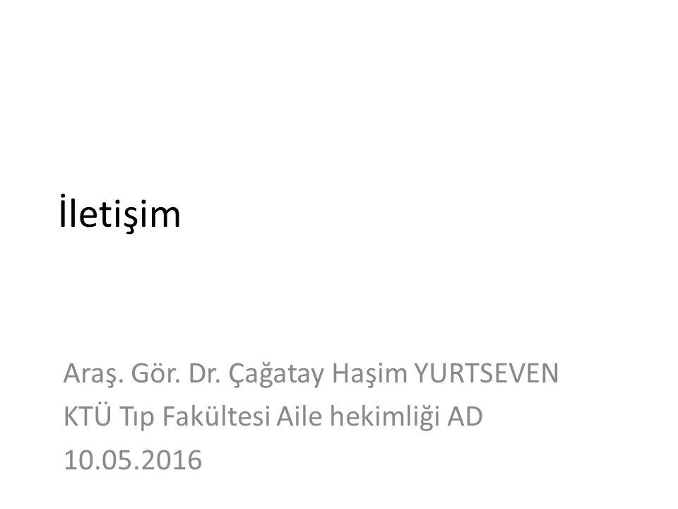 İletişim Araş. Gör. Dr. Çağatay Haşim YURTSEVEN KTÜ Tıp Fakültesi Aile hekimliği AD 10.05.2016