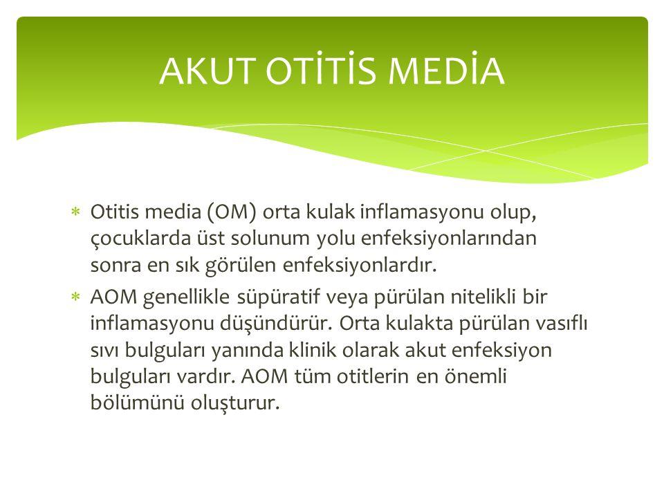  Otitis media (OM) orta kulak inflamasyonu olup, çocuklarda üst solunum yolu enfeksiyonlarından sonra en sık görülen enfeksiyonlardır.  AOM genellik