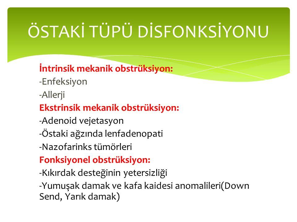ÖSTAKİ TÜPÜ DİSFONKSİYONU İntrinsik mekanik obstrüksiyon: -Enfeksiyon -Allerji Ekstrinsik mekanik obstrüksiyon: -Adenoid vejetasyon -Östaki ağzında lenfadenopati -Nazofarinks tümörleri Fonksiyonel obstrüksiyon: -Kıkırdak desteğinin yetersizliği -Yumuşak damak ve kafa kaidesi anomalileri(Down Send, Yarık damak)