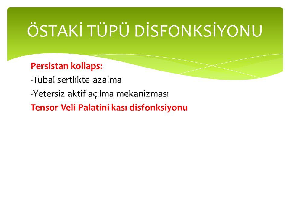 Persistan kollaps: -Tubal sertlikte azalma -Yetersiz aktif açılma mekanizması Tensor Veli Palatini kası disfonksiyonu ÖSTAKİ TÜPÜ DİSFONKSİYONU