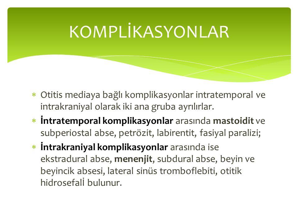  Otitis mediaya bağlı komplikasyonlar intratemporal ve intrakraniyal olarak iki ana gruba ayrılırlar.