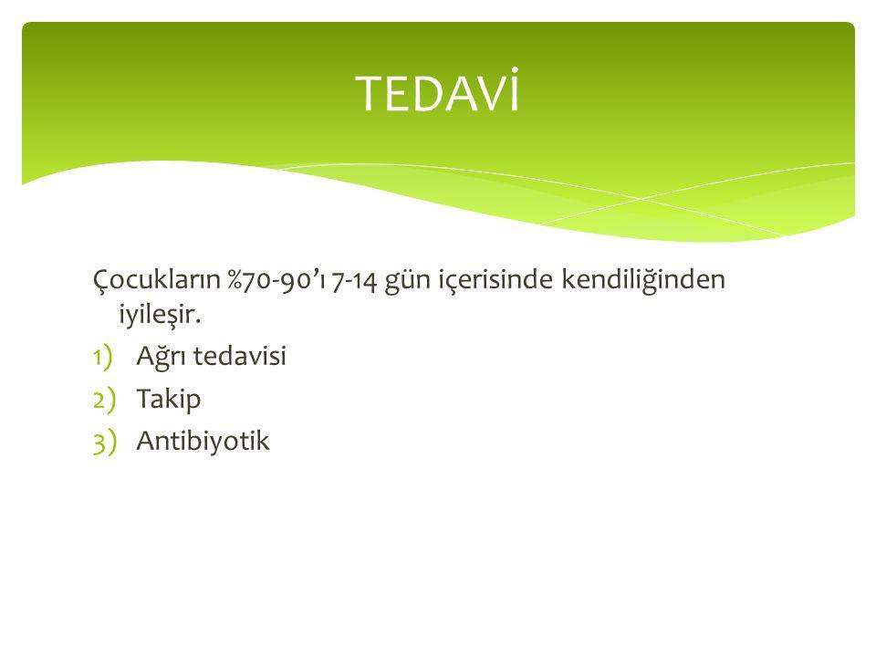 Çocukların %70-90'ı 7-14 gün içerisinde kendiliğinden iyileşir. 1)Ağrı tedavisi 2)Takip 3)Antibiyotik TEDAVİ