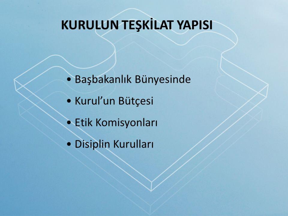 KURULUN TEŞKİLAT YAPISI Başbakanlık Bünyesinde Kurul'un Bütçesi Etik Komisyonları Disiplin Kurulları