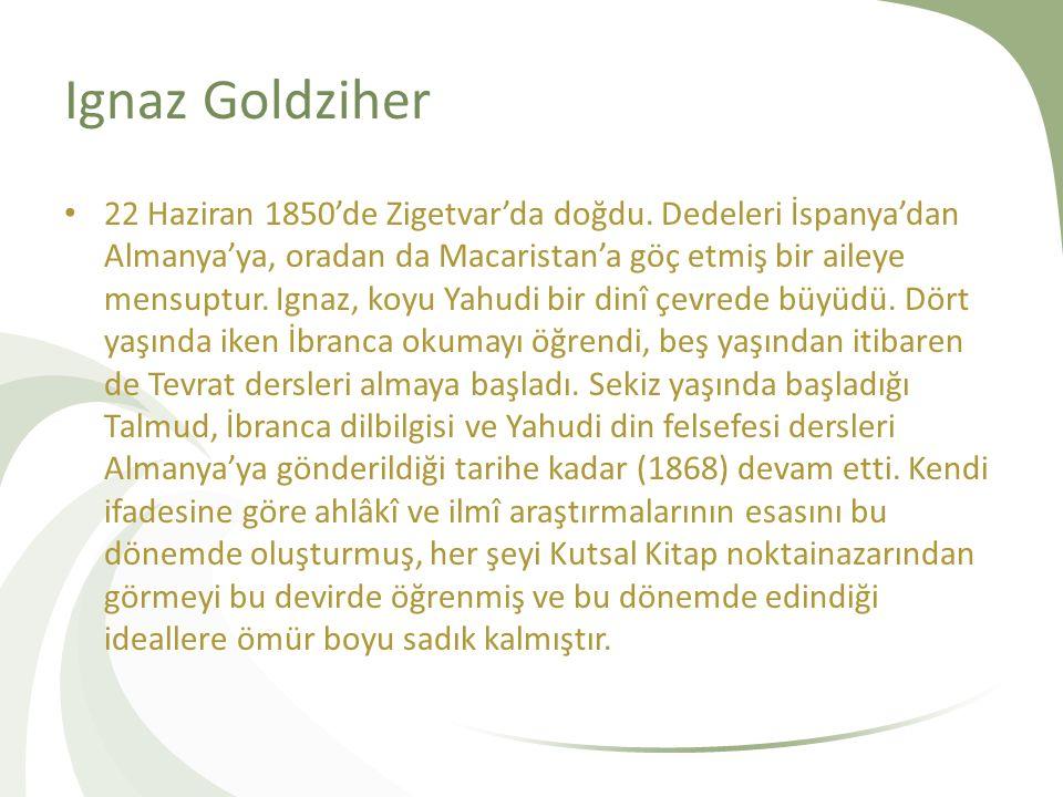 Ignaz Goldziher 22 Haziran 1850'de Zigetvar'da doğdu. Dedeleri İspanya'dan Almanya'ya, oradan da Macaristan'a göç etmiş bir aileye mensuptur. Ignaz, k