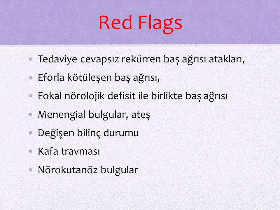 Red Flags Tedaviye cevapsız rekürren baş ağrısı atakları, Eforla kötüleşen baş ağrısı, Fokal nörolojik defisit ile birlikte baş ağrısı Menengial bulgu