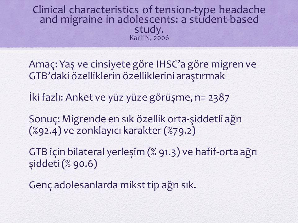 Clinical characteristics of tension-type headache and migraine in adolescents: a student-based study. Karli N, 2006 Amaç: Yaş ve cinsiyete göre IHSC'a