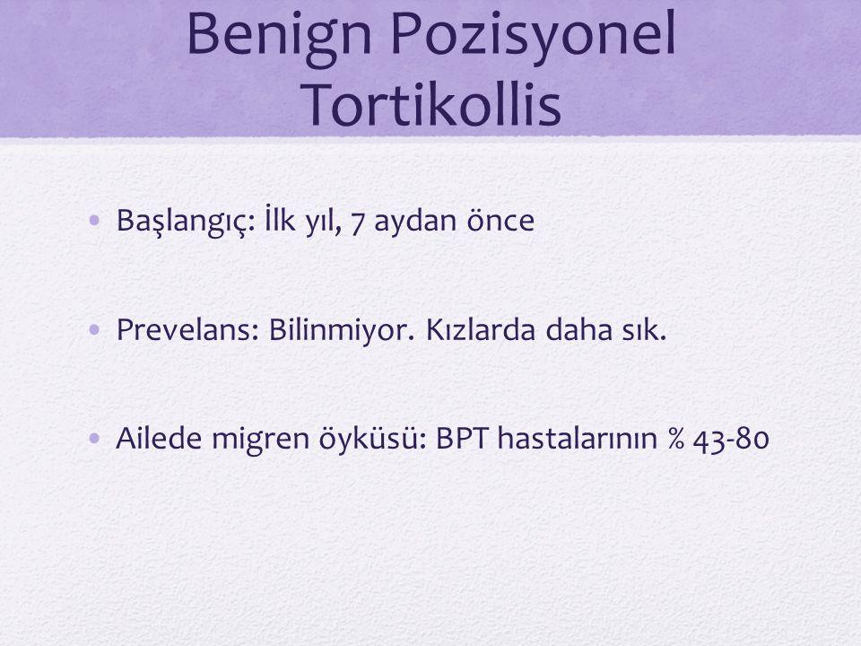 Benign Pozisyonel Tortikollis Başlangıç: İlk yıl, 7 aydan önce Prevelans: Bilinmiyor. Kızlarda daha sık. Ailede migren öyküsü: BPT hastalarının % 43-8