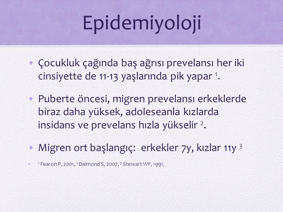 Epidemiyoloji Çocukluk çağında baş ağrısı prevelansı her iki cinsiyette de 11-13 yaşlarında pik yapar 1. Puberte öncesi, migren prevelansı erkeklerde