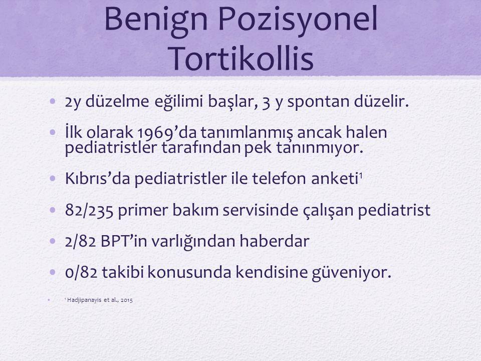 Benign Pozisyonel Tortikollis 2y düzelme eğilimi başlar, 3 y spontan düzelir. İlk olarak 1969'da tanımlanmış ancak halen pediatristler tarafından pek