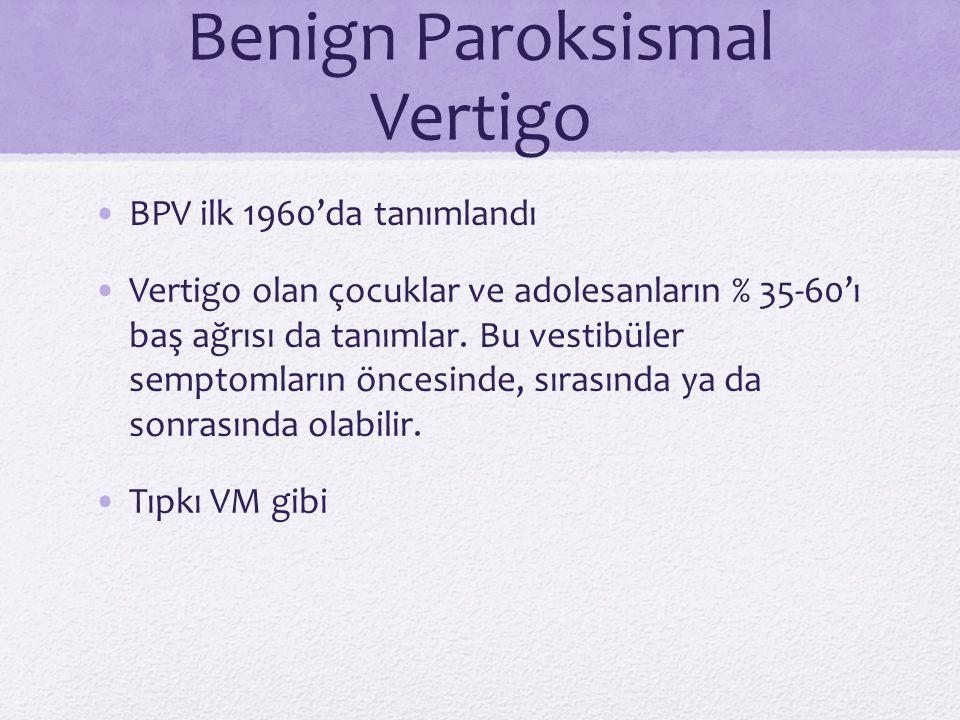 Benign Paroksismal Vertigo BPV ilk 1960'da tanımlandı Vertigo olan çocuklar ve adolesanların % 35-60'ı baş ağrısı da tanımlar. Bu vestibüler semptomla