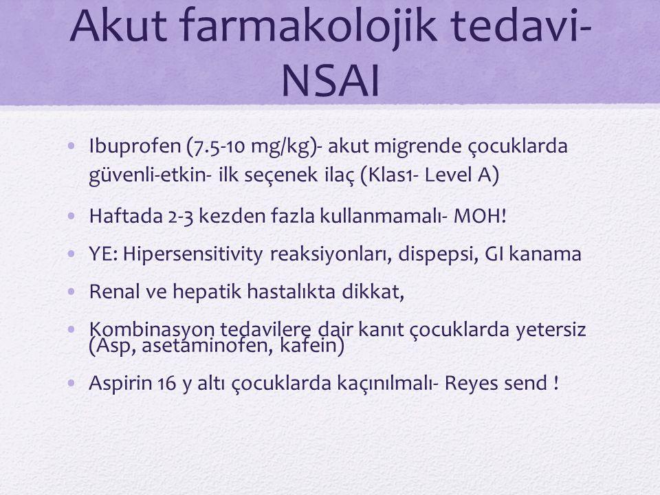 Akut farmakolojik tedavi- NSAI Ibuprofen (7.5-10 mg/kg)- akut migrende çocuklarda güvenli-etkin- ilk seçenek ilaç (Klas1- Level A) Haftada 2-3 kezden