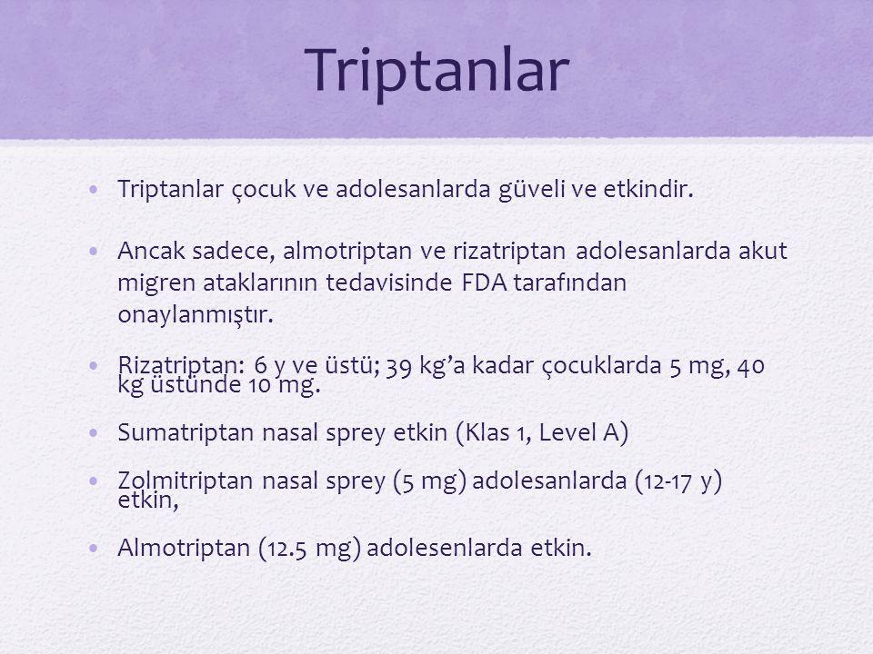 Triptanlar Triptanlar çocuk ve adolesanlarda güveli ve etkindir. Ancak sadece, almotriptan ve rizatriptan adolesanlarda akut migren ataklarının tedavi