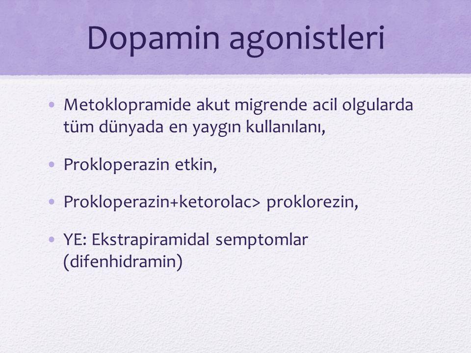 Dopamin agonistleri Metoklopramide akut migrende acil olgularda tüm dünyada en yaygın kullanılanı, Prokloperazin etkin, Prokloperazin+ketorolac> prokl