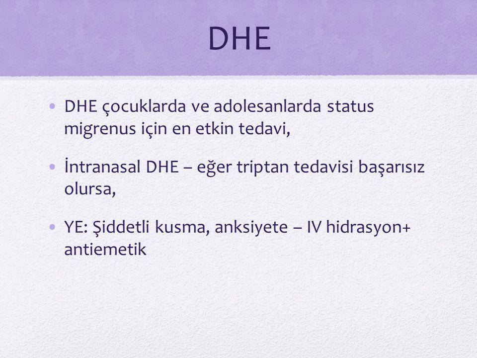 DHE DHE çocuklarda ve adolesanlarda status migrenus için en etkin tedavi, İntranasal DHE – eğer triptan tedavisi başarısız olursa, YE: Şiddetli kusma,
