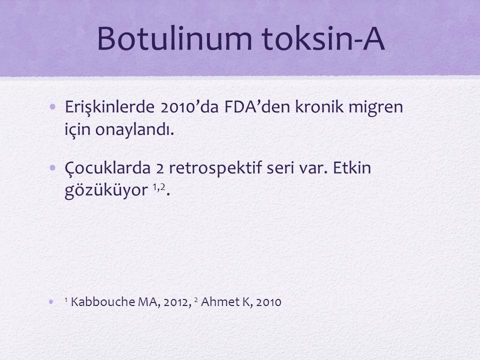 Botulinum toksin-A Erişkinlerde 2010'da FDA'den kronik migren için onaylandı. Çocuklarda 2 retrospektif seri var. Etkin gözüküyor 1,2. 1 Kabbouche MA,