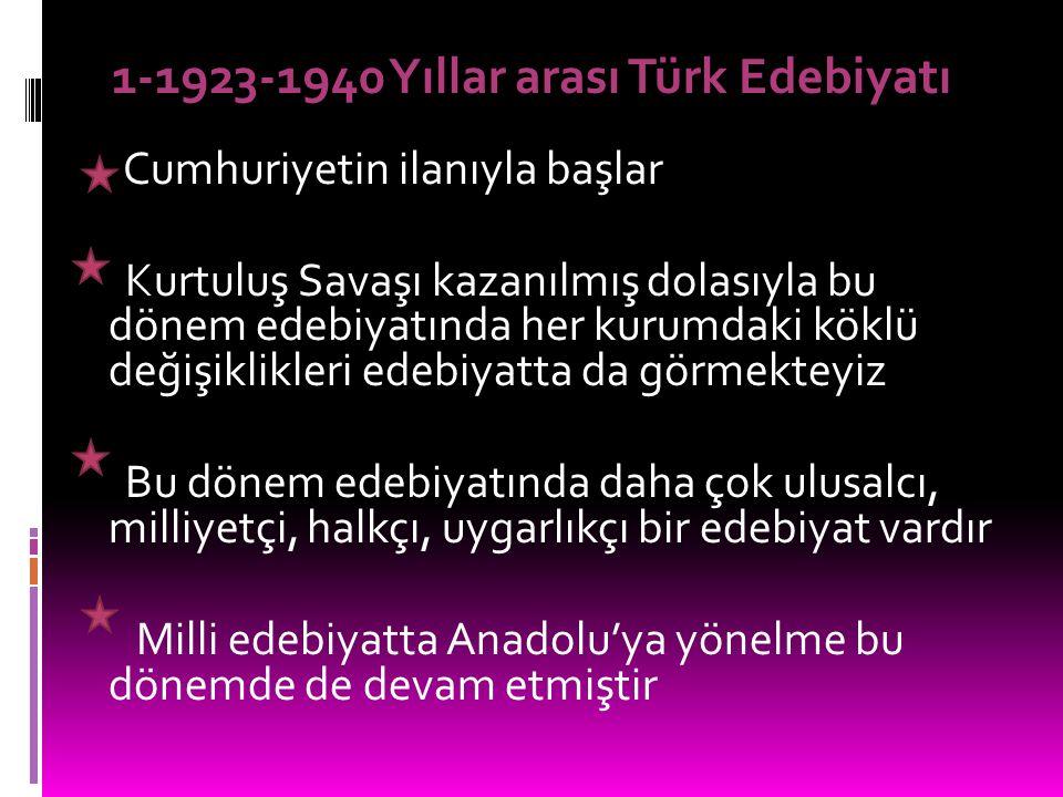 iki Başlıkta İncelenir 1-1923-1940 Yıllar arası Türk Edebiyatı 2-1940 ve sonrası Türk Edebiyatı