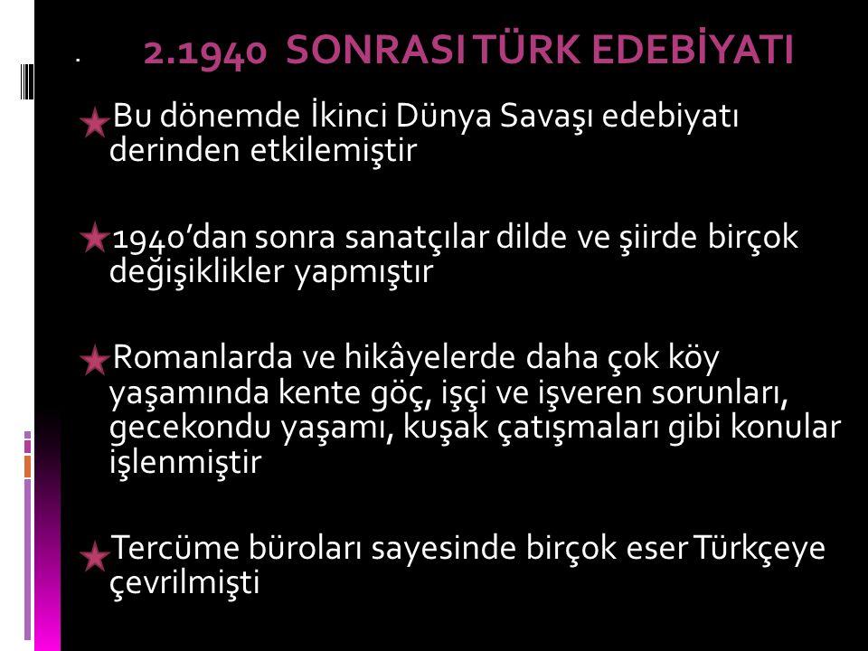 Tabiat, sevgi, Anadolu halkı, yoksulluk, erdemlilik, gurbet, Atatürk, Kurtuluş Savaşı gibi konular işlenmiştir Bu dönemde memleket edebiyatı Beş Hececiler ve Yedi Meşaleciler gibi topluluklar ortaya çıkmıştır