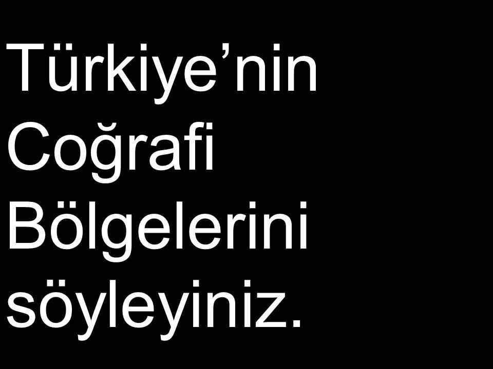Türkiye'nin Coğrafi Bölgelerini söyleyiniz.