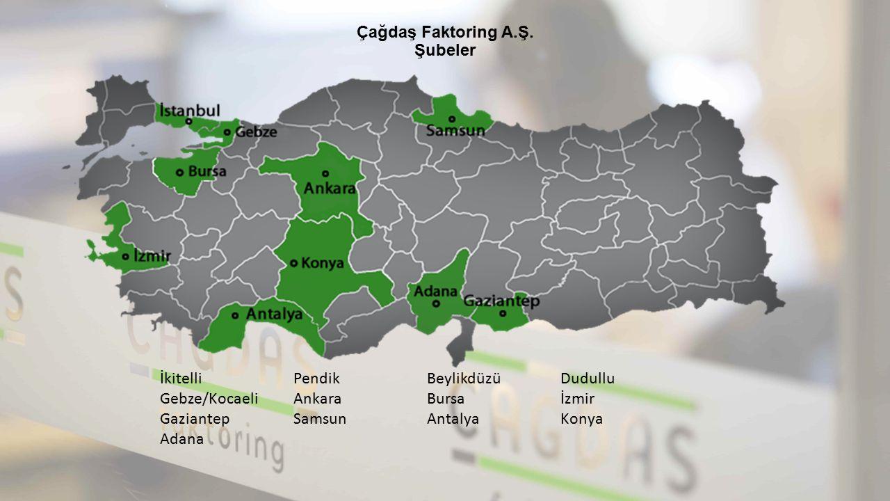 Çağdaş Faktoring A.Ş. Şubeler İkitelliPendikBeylikdüzüDudullu Gebze/KocaeliAnkaraBursaİzmir GaziantepSamsunAntalyaKonya Adana