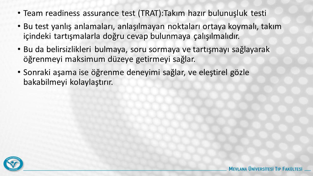 Team readiness assurance test (TRAT):Takım hazır bulunuşluk testi Bu test yanlış anlamaları, anlaşılmayan noktaları ortaya koymalı, takım içindeki tartışmalarla doğru cevap bulunmaya çalışılmalıdır.