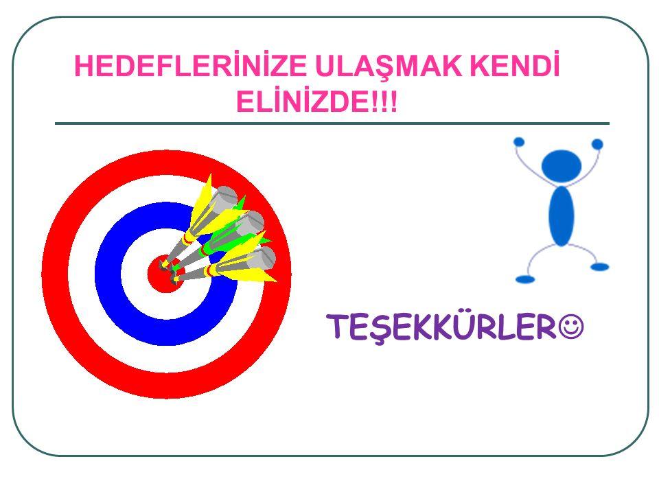 HEDEFLERİNİZE ULAŞMAK KENDİ ELİNİZDE!!! TEŞEKKÜRLER