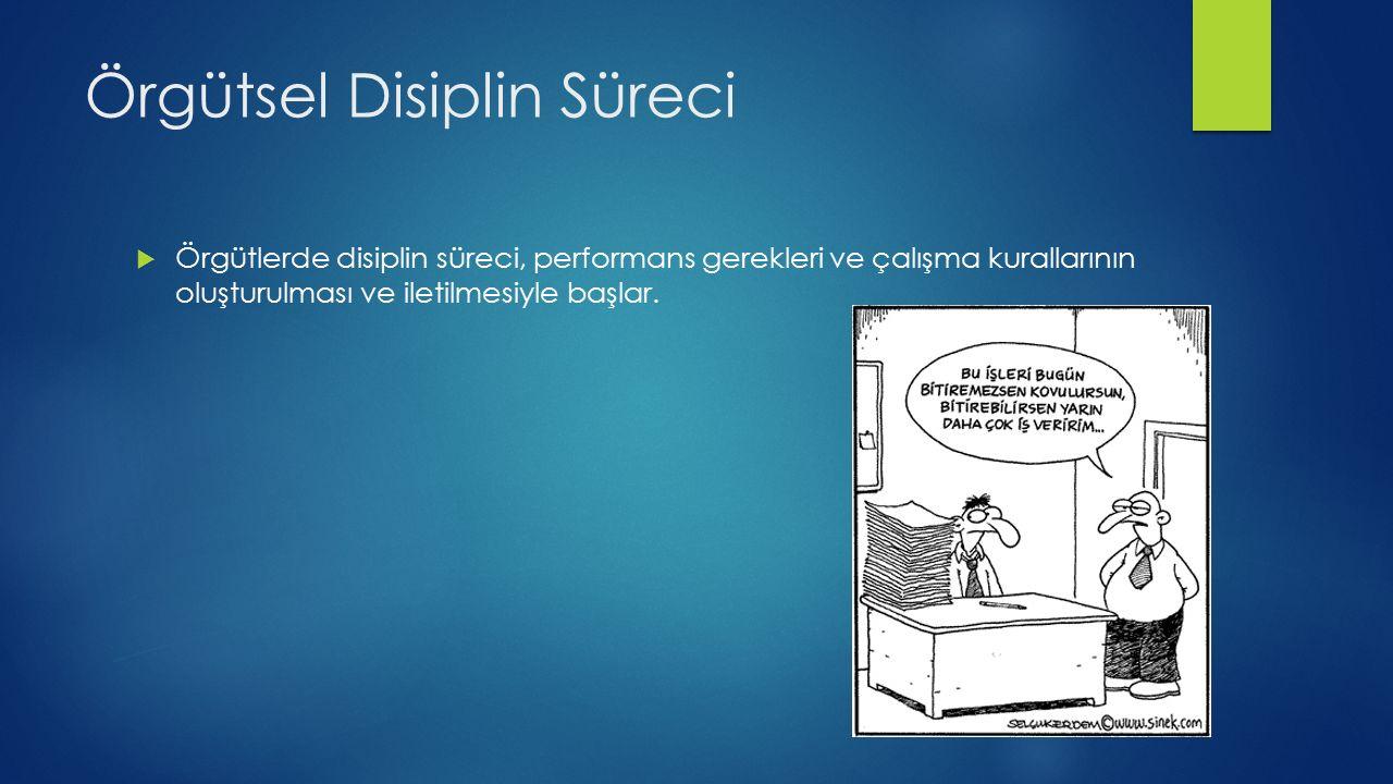 Örgütsel Disiplin Süreci  Örgütlerde disiplin süreci, performans gerekleri ve çalışma kurallarının oluşturulması ve iletilmesiyle başlar.