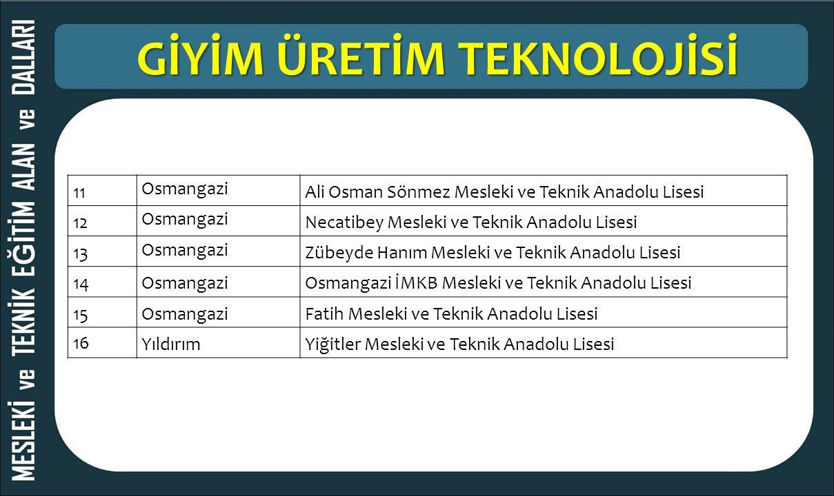 GİYİM ÜRETİM TEKNOLOJİSİ 11 Osmangazi Ali Osman Sönmez Mesleki ve Teknik Anadolu Lisesi 12 Osmangazi Necatibey Mesleki ve Teknik Anadolu Lisesi 13 Osm
