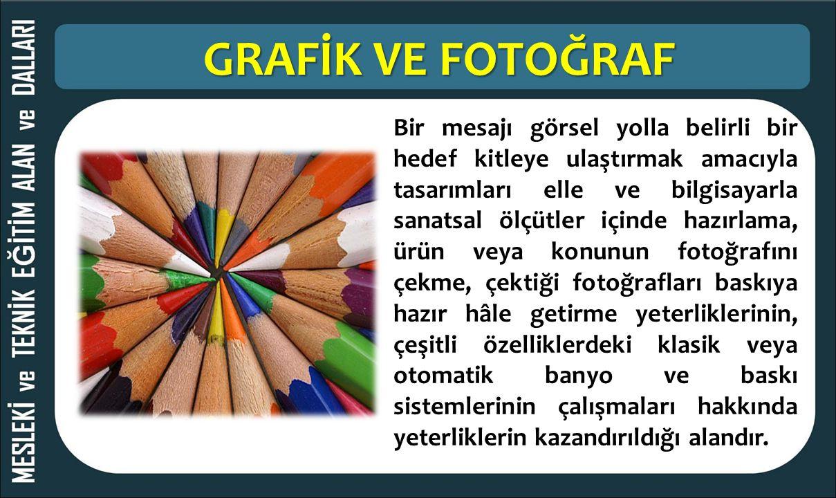 GRAFİK VE FOTOĞRAF Bir mesajı görsel yolla belirli bir hedef kitleye ulaştırmak amacıyla tasarımları elle ve bilgisayarla sanatsal ölçütler içinde haz