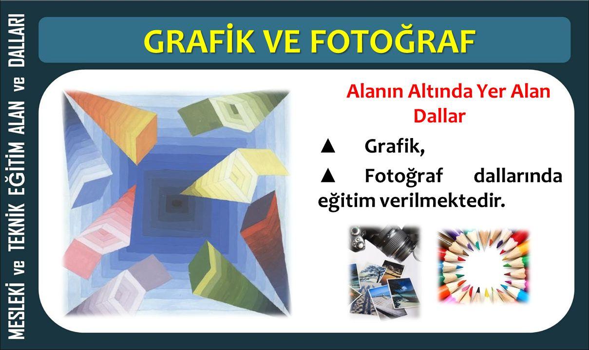 GRAFİK VE FOTOĞRAF Alanın Altında Yer Alan Dallar ▲ Grafik, ▲ Fotoğraf dallarında eğitim verilmektedir.