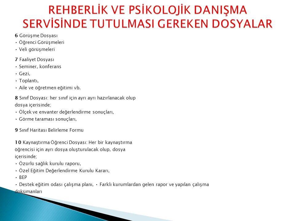 6 Görüşme Dosyası Öğrenci Görüşmeleri Veli görüşmeleri 7 Faaliyet Dosyası Seminer, konferans Gezi, Toplantı, Aile ve öğretmen eğitimi vb. 8 Sınıf Dosy