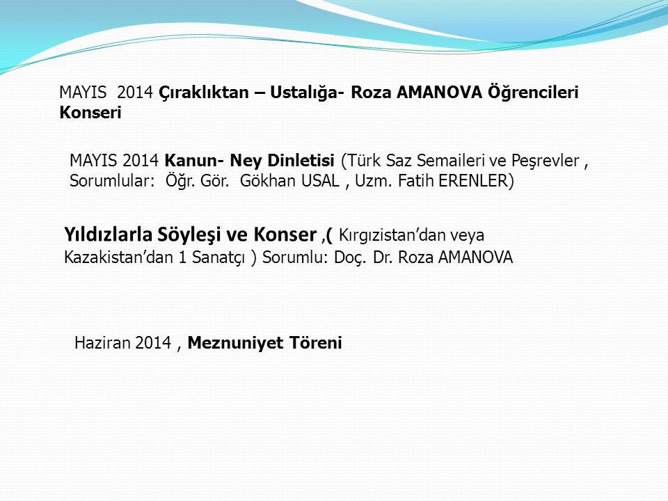 MAYIS 2014 Çıraklıktan – Ustalığa- Roza AMANOVA Öğrencileri Konseri MAYIS 2014 Kanun- Ney Dinletisi (Türk Saz Semaileri ve Peşrevler, Sorumlular: Öğr.