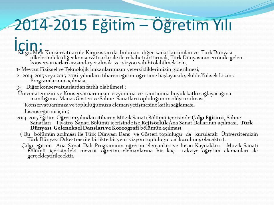 2014-2015 Eğitim – Öğretim Yılı İçin; Kırgız Milli Konservatuarı ile Kırgızistan da bulunan diğer sanat kurumları ve Türk Dünyası ülkelerindeki diğer