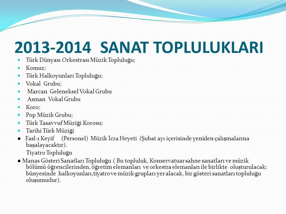 2013-2014 SANAT TOPLULUKLARI Türk Dünyası Orkestrası Müzik Topluluğu; Komuz; Türk Halkoyunları Topluluğu; Vokal Grubu; Marcan Geleneksel Vokal Grubu A