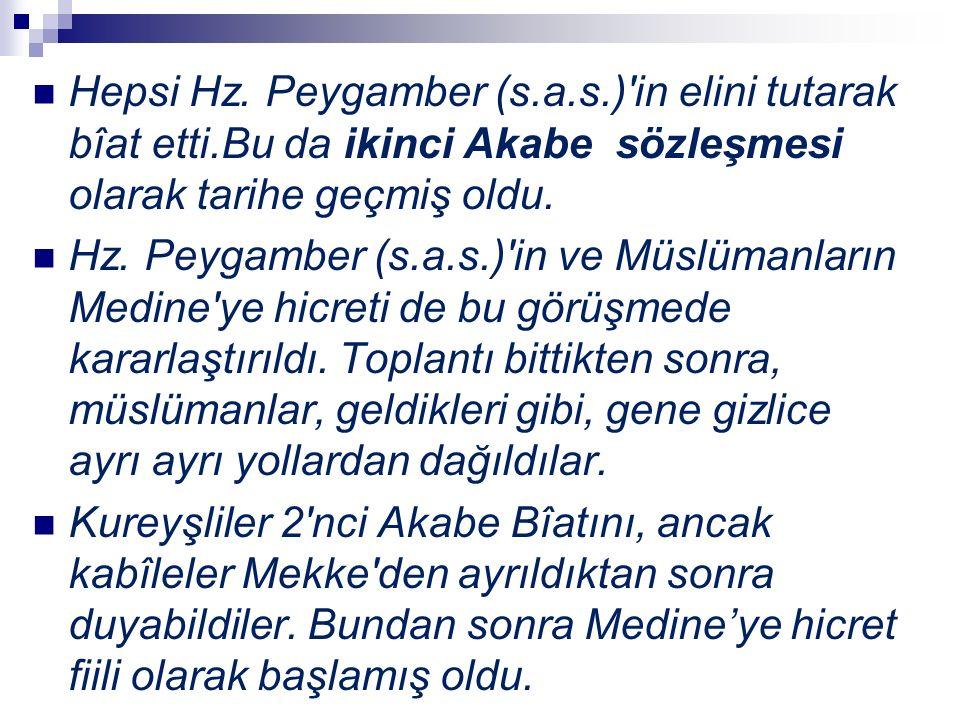 Hepsi Hz. Peygamber (s.a.s.)'in elini tutarak bîat etti.Bu da ikinci Akabe sözleşmesi olarak tarihe geçmiş oldu. Hz. Peygamber (s.a.s.)'in ve Müslüman