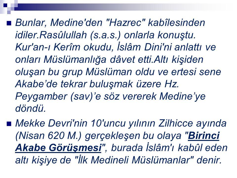 Bunlar, Medine den Hazrec kabîlesinden idiler.Rasûlullah (s.a.s.) onlarla konuştu.
